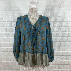 Patterson J. Kincaid Sheer Floral Blouse Blue Sm